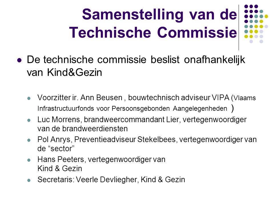 Samenstelling van de Technische Commissie De technische commissie beslist onafhankelijk van Kind&Gezin Voorzitter ir. Ann Beusen, bouwtechnisch advise