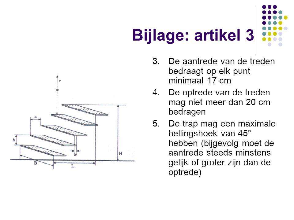 Bijlage: artikel 3 3.De aantrede van de treden bedraagt op elk punt minimaal 17 cm 4.De optrede van de treden mag niet meer dan 20 cm bedragen 5.De tr