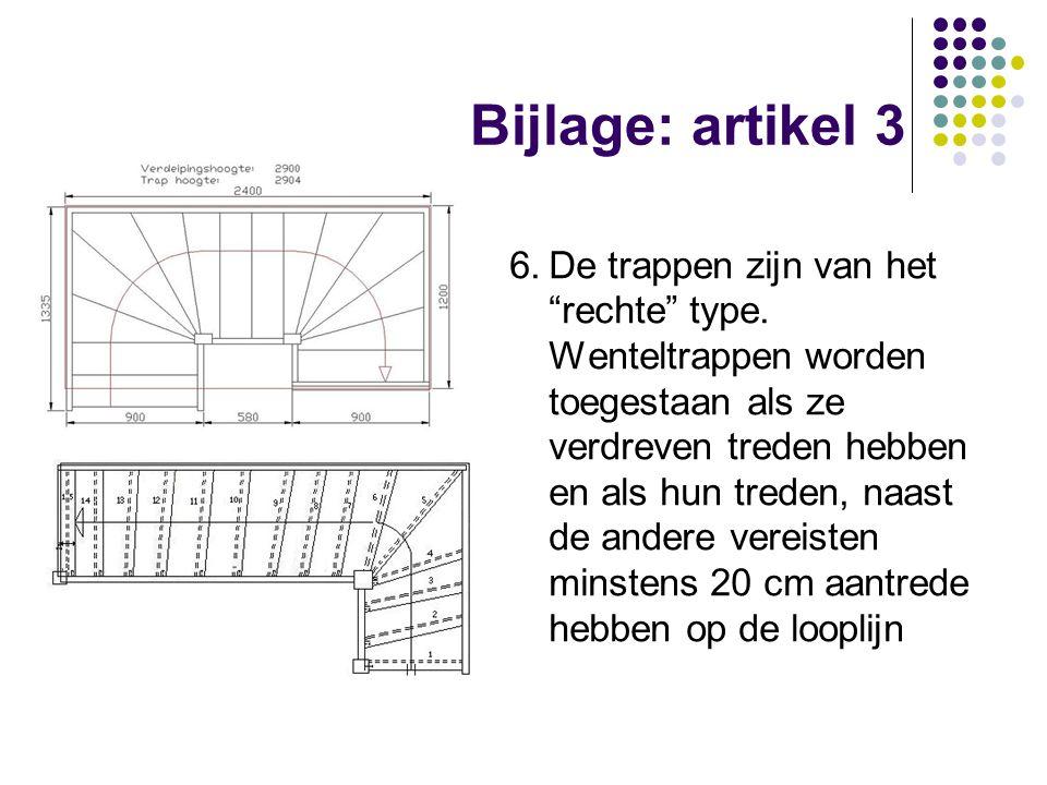 """Bijlage: artikel 3 6.De trappen zijn van het """"rechte"""" type. Wenteltrappen worden toegestaan als ze verdreven treden hebben en als hun treden, naast de"""