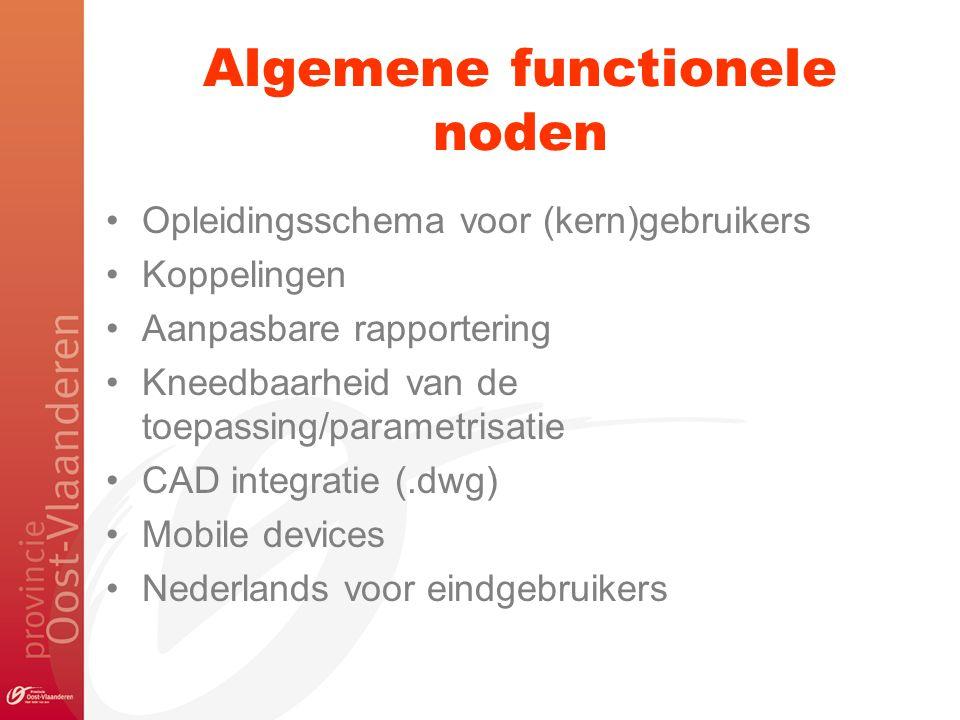Algemene functionele noden Opleidingsschema voor (kern)gebruikers Koppelingen Aanpasbare rapportering Kneedbaarheid van de toepassing/parametrisatie CAD integratie (.dwg) Mobile devices Nederlands voor eindgebruikers