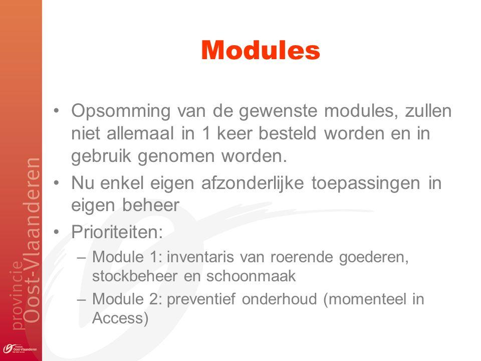 Modules Opsomming van de gewenste modules, zullen niet allemaal in 1 keer besteld worden en in gebruik genomen worden.