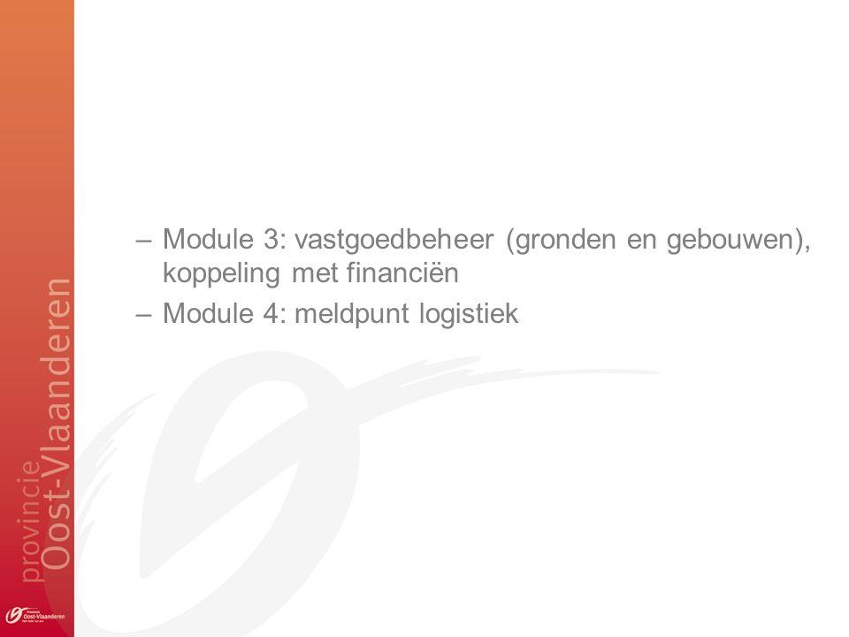 –Module 3: vastgoedbeheer (gronden en gebouwen), koppeling met financiën –Module 4: meldpunt logistiek