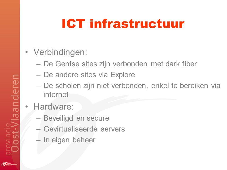 ICT infrastructuur Verbindingen: –De Gentse sites zijn verbonden met dark fiber –De andere sites via Explore –De scholen zijn niet verbonden, enkel te bereiken via internet Hardware: –Beveiligd en secure –Gevirtualiseerde servers –In eigen beheer