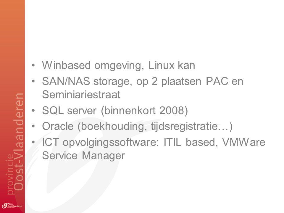 Winbased omgeving, Linux kan SAN/NAS storage, op 2 plaatsen PAC en Seminiariestraat SQL server (binnenkort 2008) Oracle (boekhouding, tijdsregistratie…) ICT opvolgingssoftware: ITIL based, VMWare Service Manager
