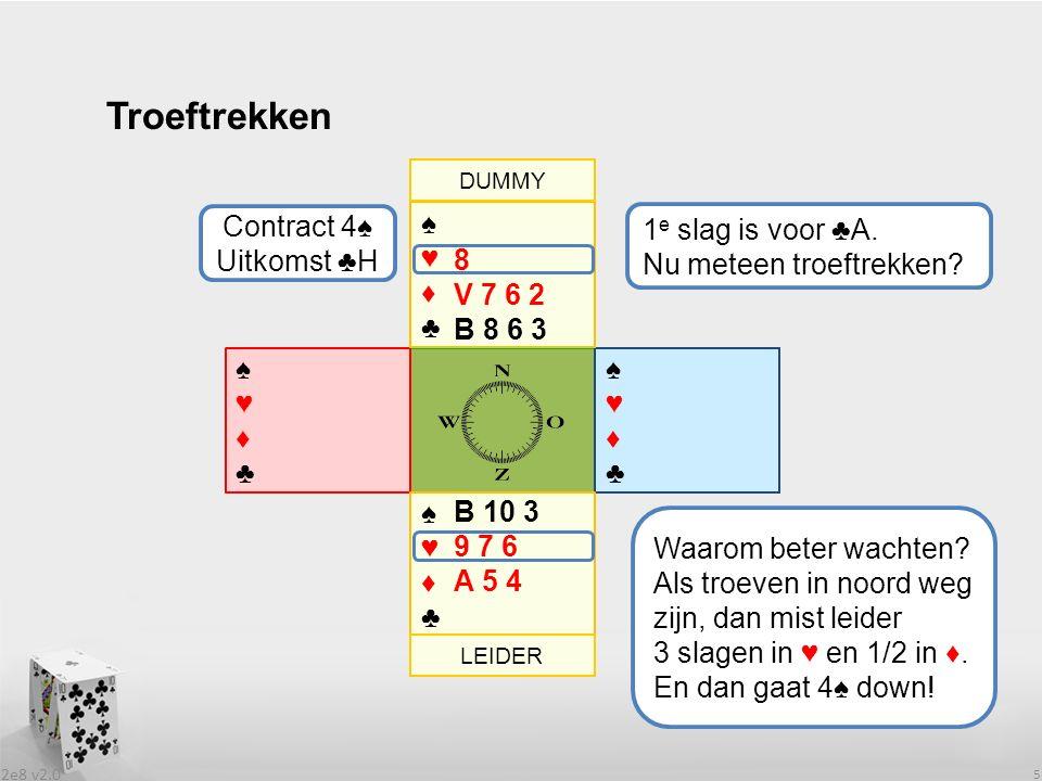 2e8 v2.0 5 Troeftrekken ♠♥♦♣♠♥♦♣ ♠♥♦♣♠♥♦♣ ♠♥♦♣♠♥♦♣ 1 e slag is voor ♣A.