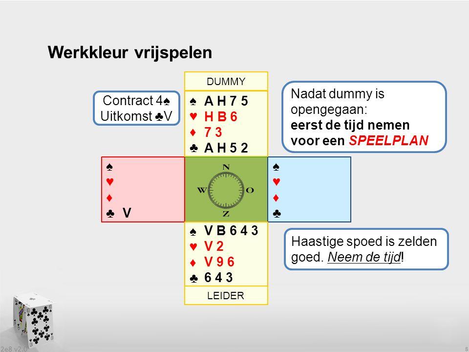 2e8 v2.0 9 Werkkleur vrijspelen ♠♥♦♣♠♥♦♣ ♠♥♦♣♠♥♦♣ ♠♥♦♣♠♥♦♣ 1 e slag is voor ♣A.