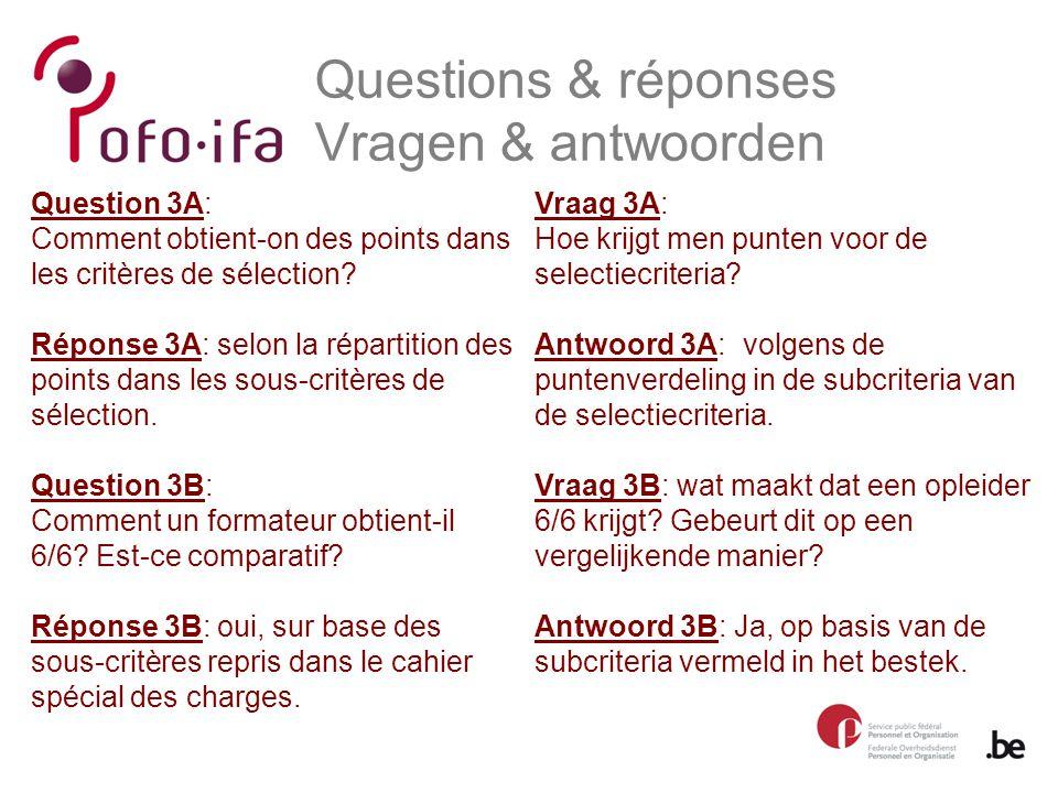Questions & réponses Vragen & antwoorden Vraag 3A: Hoe krijgt men punten voor de selectiecriteria.