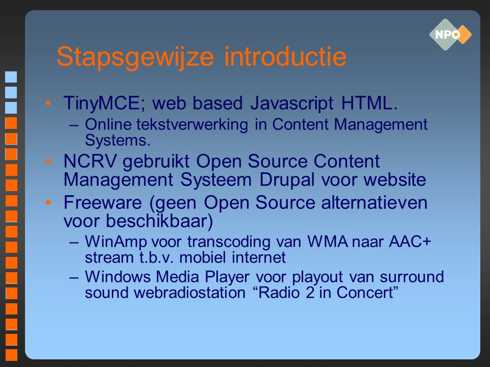Stapsgewijze introductie TinyMCE; web based Javascript HTML.
