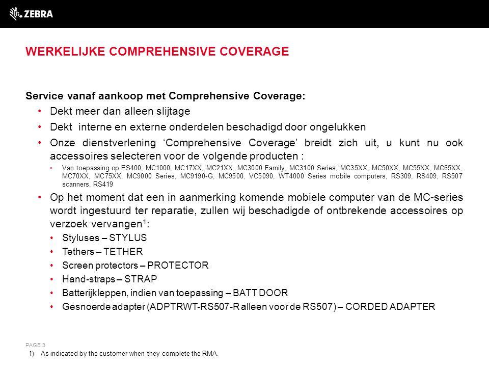 WERKELIJKE COMPREHENSIVE COVERAGE Service vanaf aankoop met Comprehensive Coverage: Dekt meer dan alleen slijtage Dekt interne en externe onderdelen b