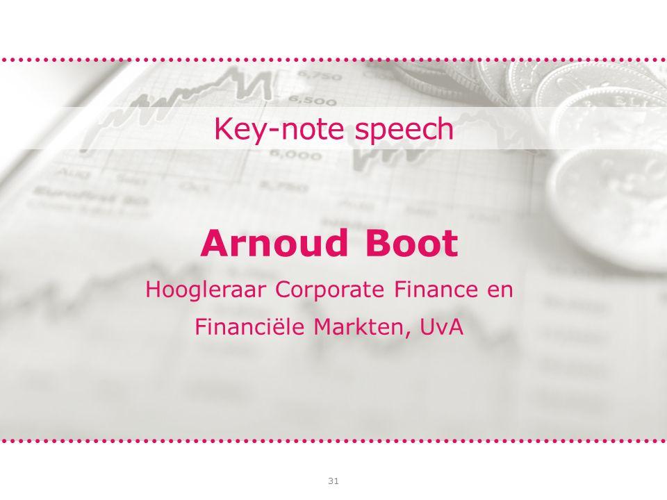 31 Key-note speech Arnoud Boot Hoogleraar Corporate Finance en Financiële Markten, UvA