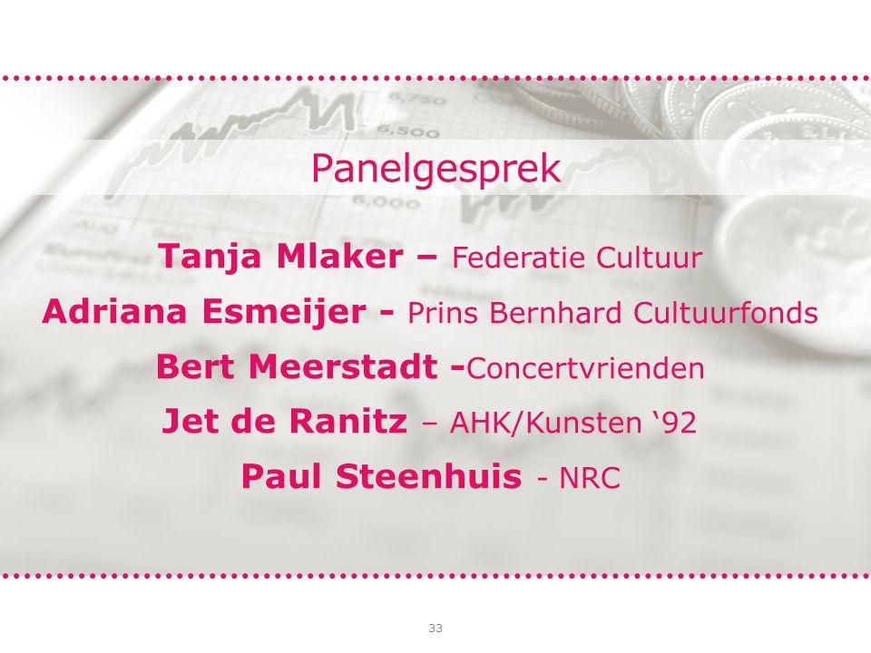 33 Panelgesprek Tanja Mlaker – Federatie Cultuur Adriana Esmeijer - Prins Bernhard Cultuurfonds Bert Meerstadt - Concertvrienden Jet de Ranitz – AHK/Kunsten '92 Paul Steenhuis - NRC