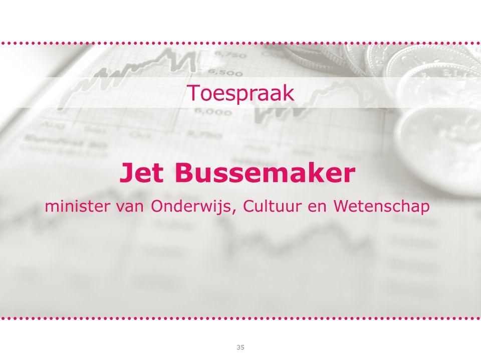 35 Toespraak Jet Bussemaker minister van Onderwijs, Cultuur en Wetenschap