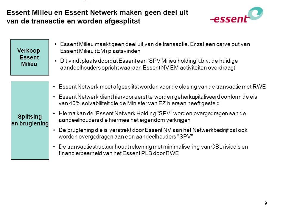 9 Essent Milieu en Essent Netwerk maken geen deel uit van de transactie en worden afgesplitst Verkoop Essent Milieu Splitsing en bruglening Essent Mil