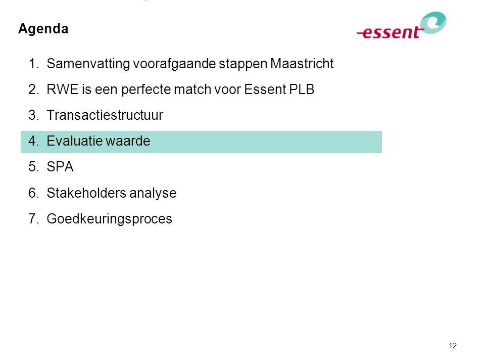12 Agenda 1.Samenvatting voorafgaande stappen Maastricht 2.RWE is een perfecte match voor Essent PLB 3.Transactiestructuur 4.Evaluatie waarde 5.SPA 6.