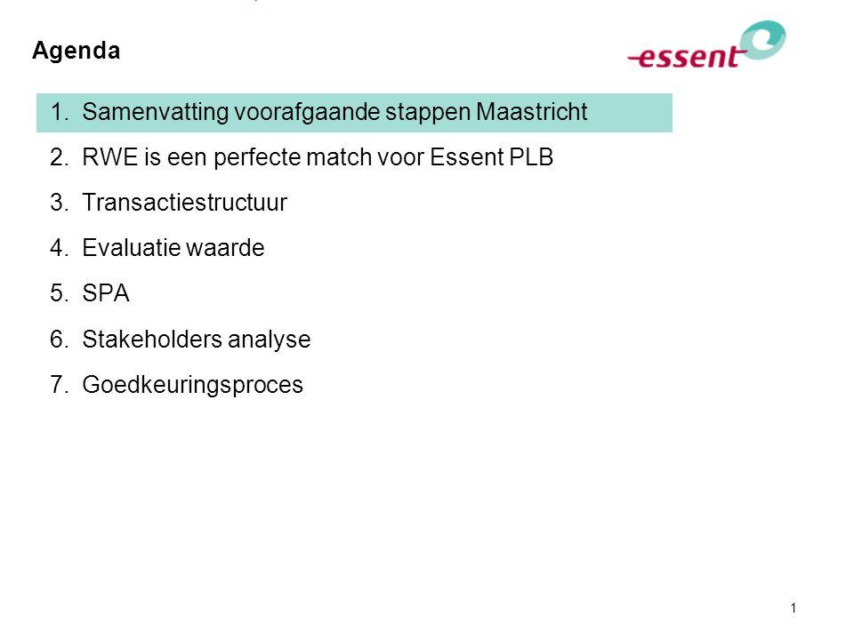 1 Agenda 1.Samenvatting voorafgaande stappen Maastricht 2.RWE is een perfecte match voor Essent PLB 3.Transactiestructuur 4.Evaluatie waarde 5.SPA 6.S