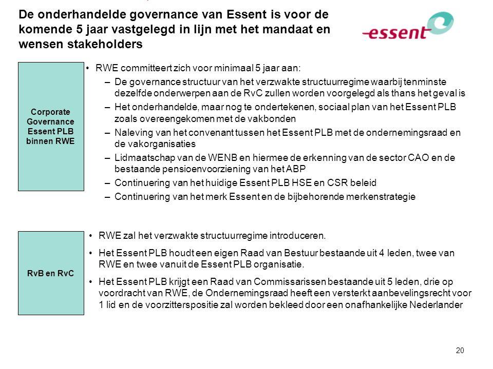 20 De onderhandelde governance van Essent is voor de komende 5 jaar vastgelegd in lijn met het mandaat en wensen stakeholders RWE committeert zich voo