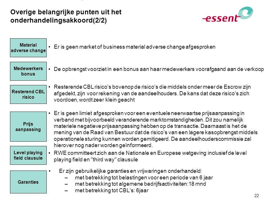22 Overige belangrijke punten uit het onderhandelingsakkoord(2/2) Medewerkers bonus De opbrengst voorziet in een bonus aan haar medewerkers voorafgaan