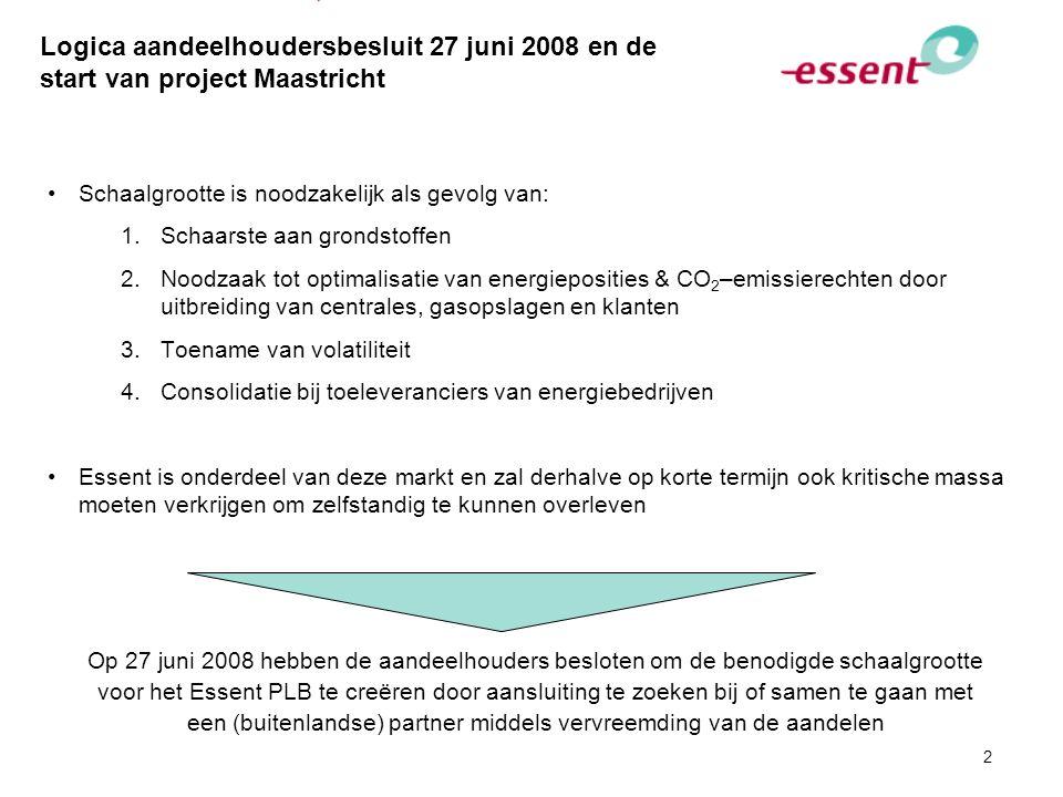 2 Logica aandeelhoudersbesluit 27 juni 2008 en de start van project Maastricht Schaalgrootte is noodzakelijk als gevolg van: 1.Schaarste aan grondstof