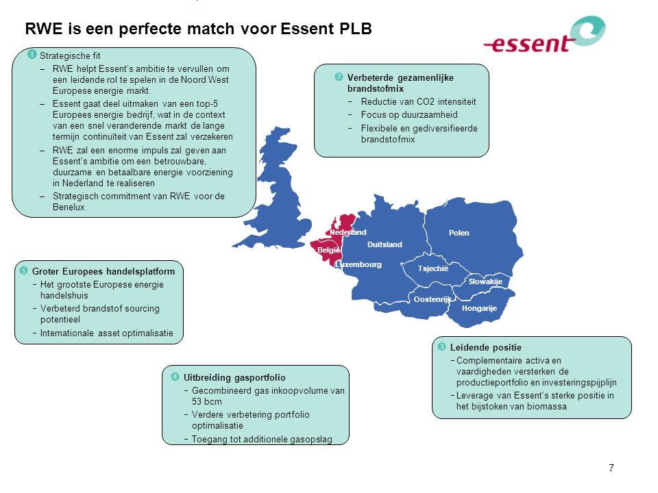 7 RWE is een perfecte match voor Essent PLB  Leidende positie  Complementaire activa en vaardigheden versterken de productieportfolio en investering