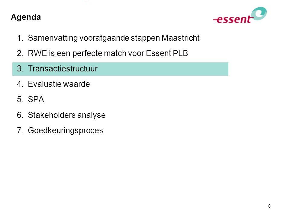 8 Agenda 1.Samenvatting voorafgaande stappen Maastricht 2.RWE is een perfecte match voor Essent PLB 3.Transactiestructuur 4.Evaluatie waarde 5.SPA 6.S