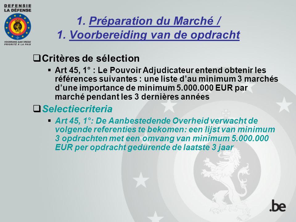 1. Préparation du Marché / 1. Voorbereiding van de opdracht  Critères de sélection  Art 45, 1° : Le Pouvoir Adjudicateur entend obtenir les référenc