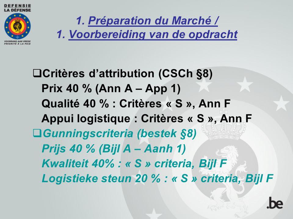 1. Préparation du Marché / 1. Voorbereiding van de opdracht  Critères d'attribution (CSCh §8) Prix 40 % (Ann A – App 1) Qualité 40 % : Critères « S »