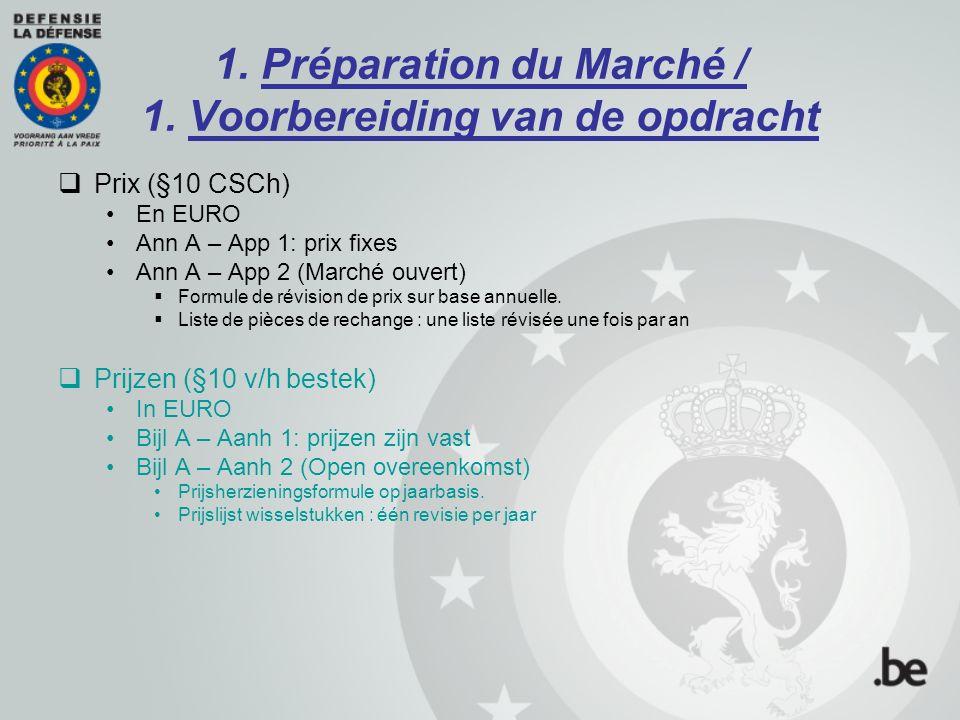 1. Préparation du Marché / 1. Voorbereiding van de opdracht  Prix (§10 CSCh) En EURO Ann A – App 1: prix fixes Ann A – App 2 (Marché ouvert)  Formul