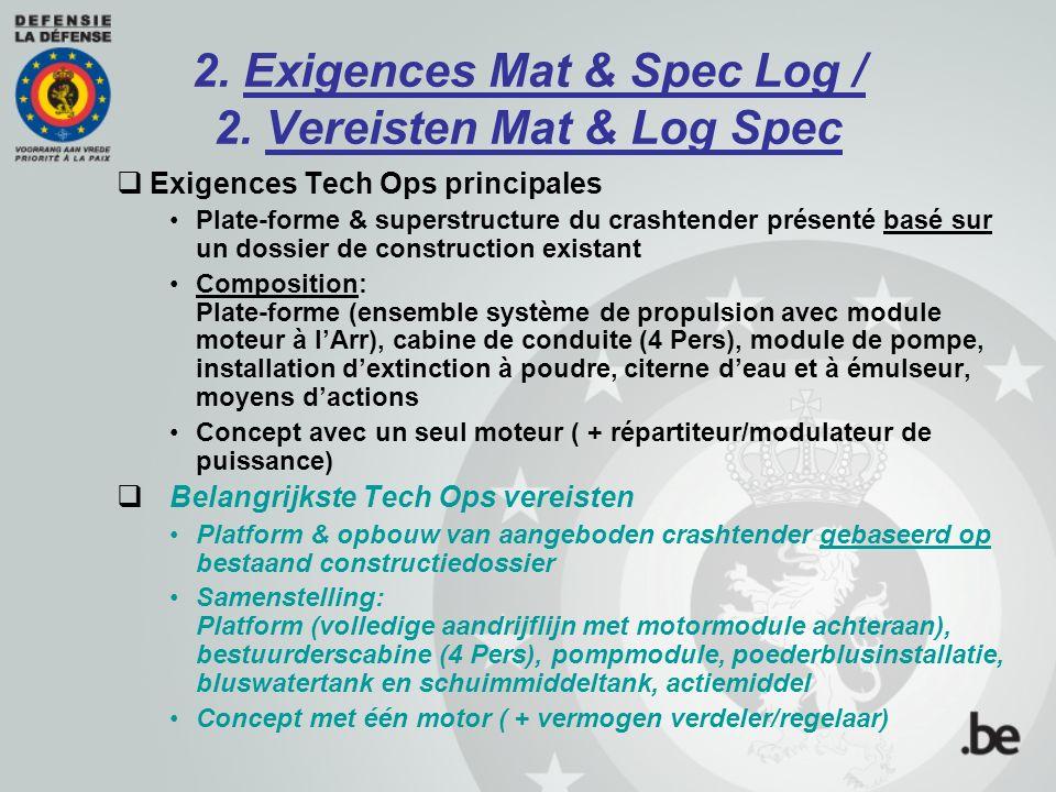 2. Exigences Mat & Spec Log / 2. Vereisten Mat & Log Spec  Exigences Tech Ops principales Plate-forme & superstructure du crashtender présenté basé s