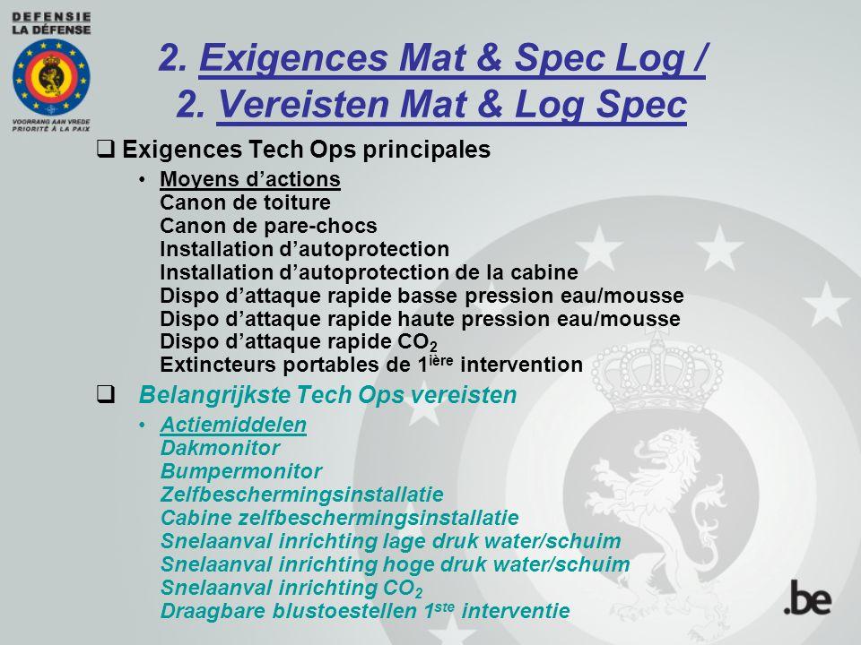 2. Exigences Mat & Spec Log / 2. Vereisten Mat & Log Spec  Exigences Tech Ops principales Moyens d'actions Canon de toiture Canon de pare-chocs Insta