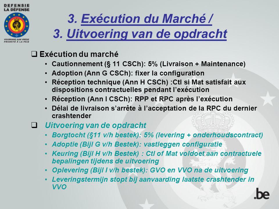 3. Exécution du Marché / 3. Uitvoering van de opdracht  Exécution du marché Cautionnement (§ 11 CSCh): 5% (Livraison + Maintenance) Adoption (Ann G C