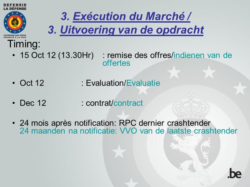 3. Exécution du Marché / 3. Uitvoering van de opdracht Timing: 15 Oct 12 (13.30Hr): remise des offres/indienen van de offertes Oct 12:Evaluation/Evalu
