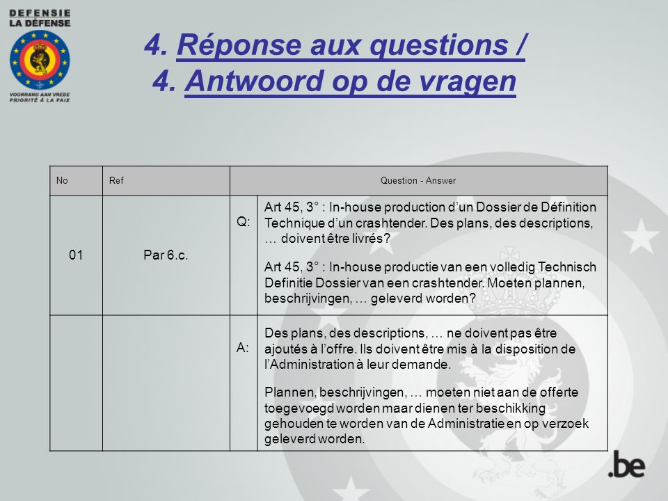 4. Réponse aux questions / 4. Antwoord op de vragen NoRefQuestion - Answer 01Par 6.c. Q: Art 45, 3° : In-house production d'un Dossier de Définition T