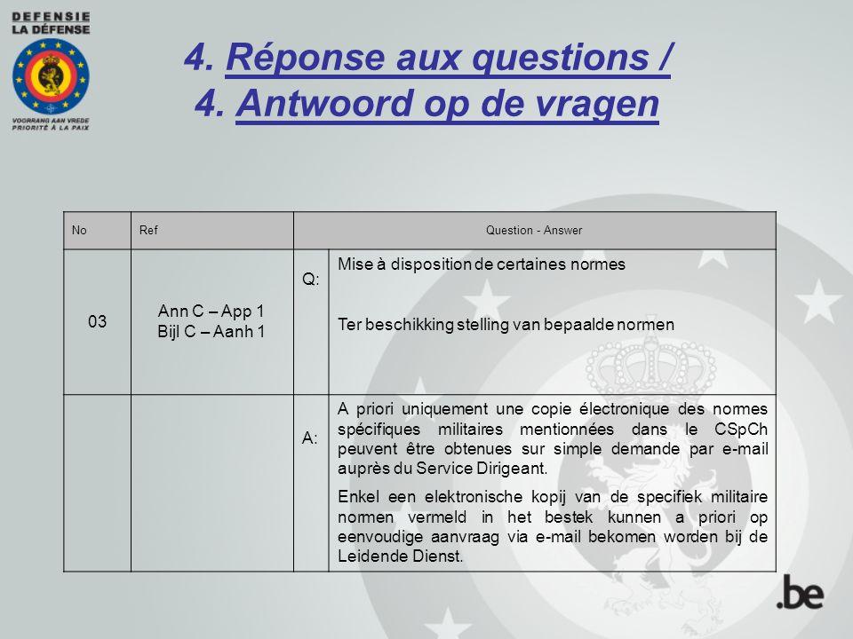 4. Réponse aux questions / 4. Antwoord op de vragen NoRefQuestion - Answer 03 Ann C – App 1 Bijl C – Aanh 1 Q: Mise à disposition de certaines normes