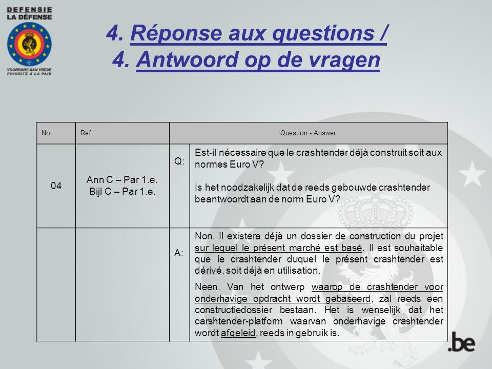 4. Réponse aux questions / 4. Antwoord op de vragen NoRefQuestion - Answer 04 Ann C – Par 1.e. Bijl C – Par 1.e. Q: Est-il nécessaire que le crashtend