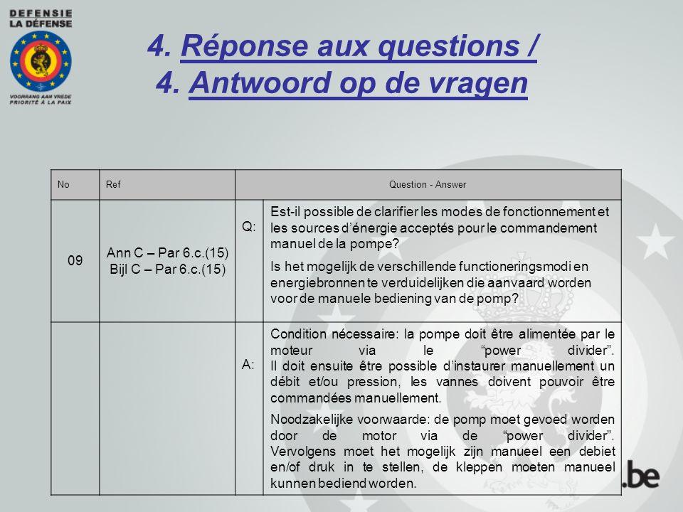 4. Réponse aux questions / 4. Antwoord op de vragen NoRefQuestion - Answer 09 Ann C – Par 6.c.(15) Bijl C – Par 6.c.(15) Q: Est-il possible de clarifi