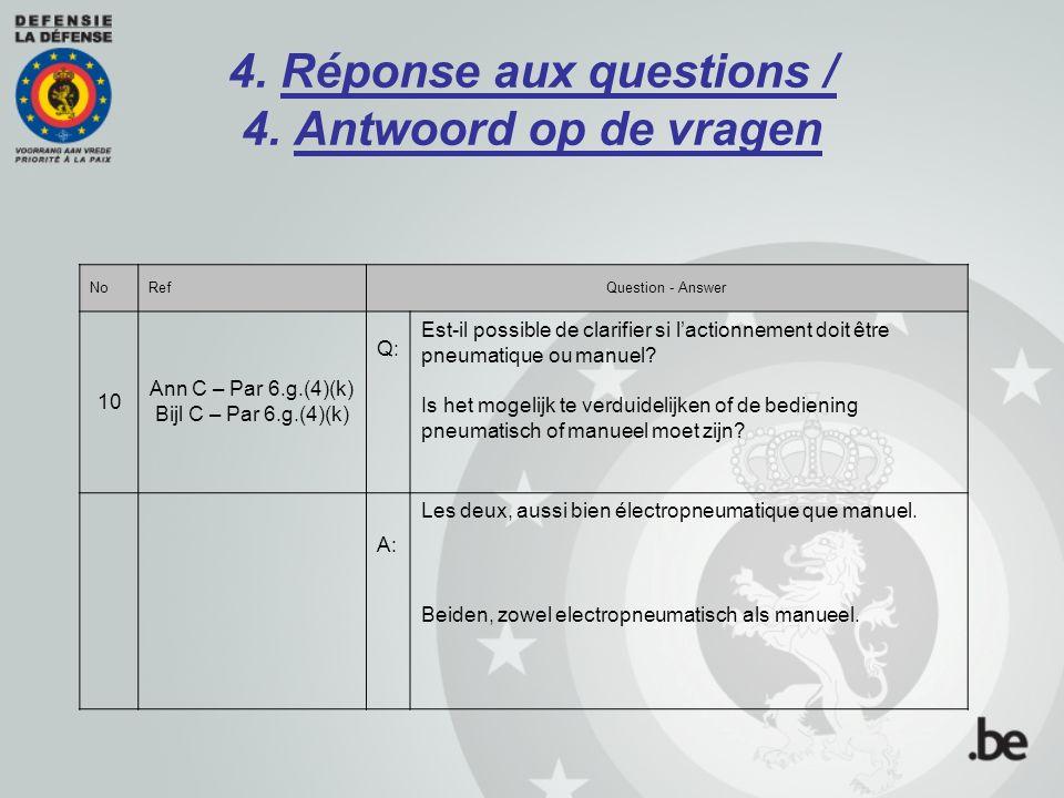 4. Réponse aux questions / 4. Antwoord op de vragen NoRefQuestion - Answer 10 Ann C – Par 6.g.(4)(k) Bijl C – Par 6.g.(4)(k) Q: Est-il possible de cla