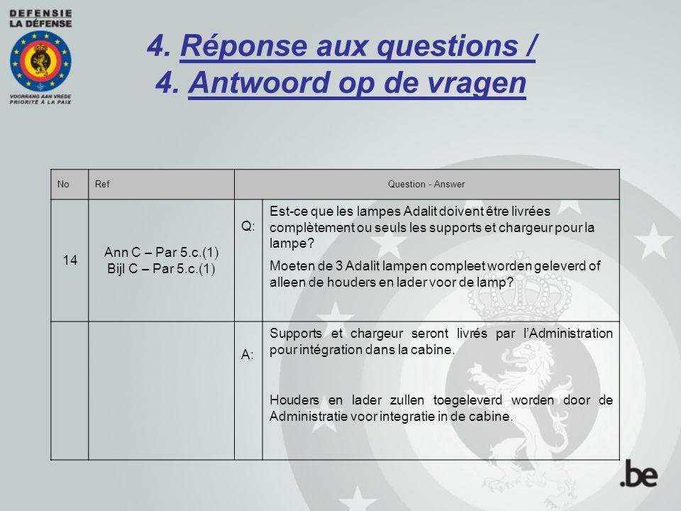 4. Réponse aux questions / 4. Antwoord op de vragen NoRefQuestion - Answer 14 Ann C – Par 5.c.(1) Bijl C – Par 5.c.(1) Q: Est-ce que les lampes Adalit