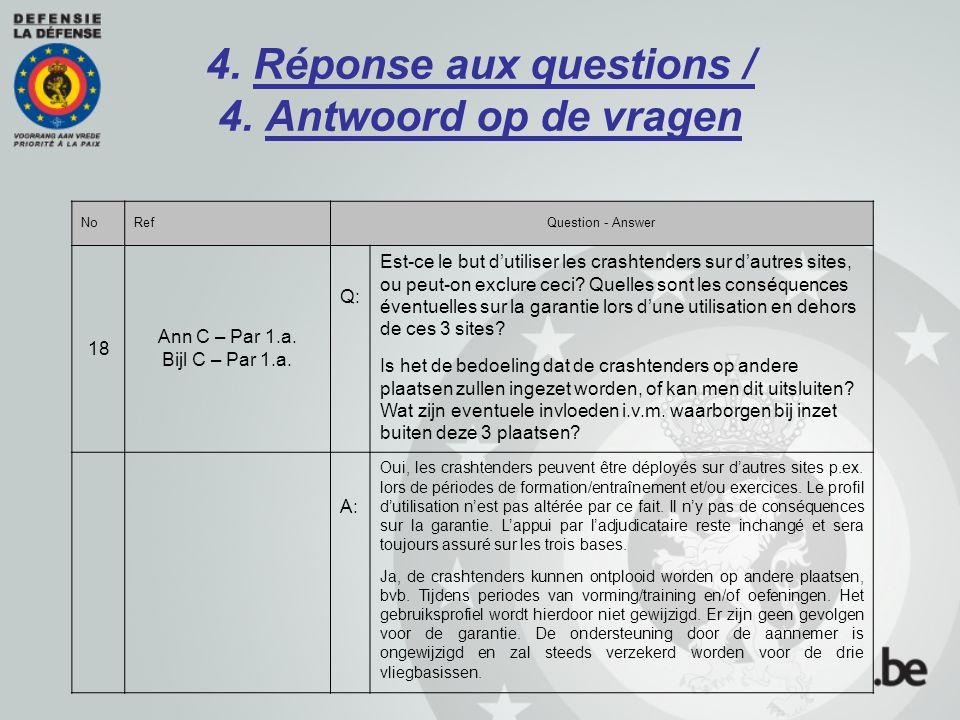 4. Réponse aux questions / 4. Antwoord op de vragen NoRefQuestion - Answer 18 Ann C – Par 1.a. Bijl C – Par 1.a. Q: Est-ce le but d'utiliser les crash