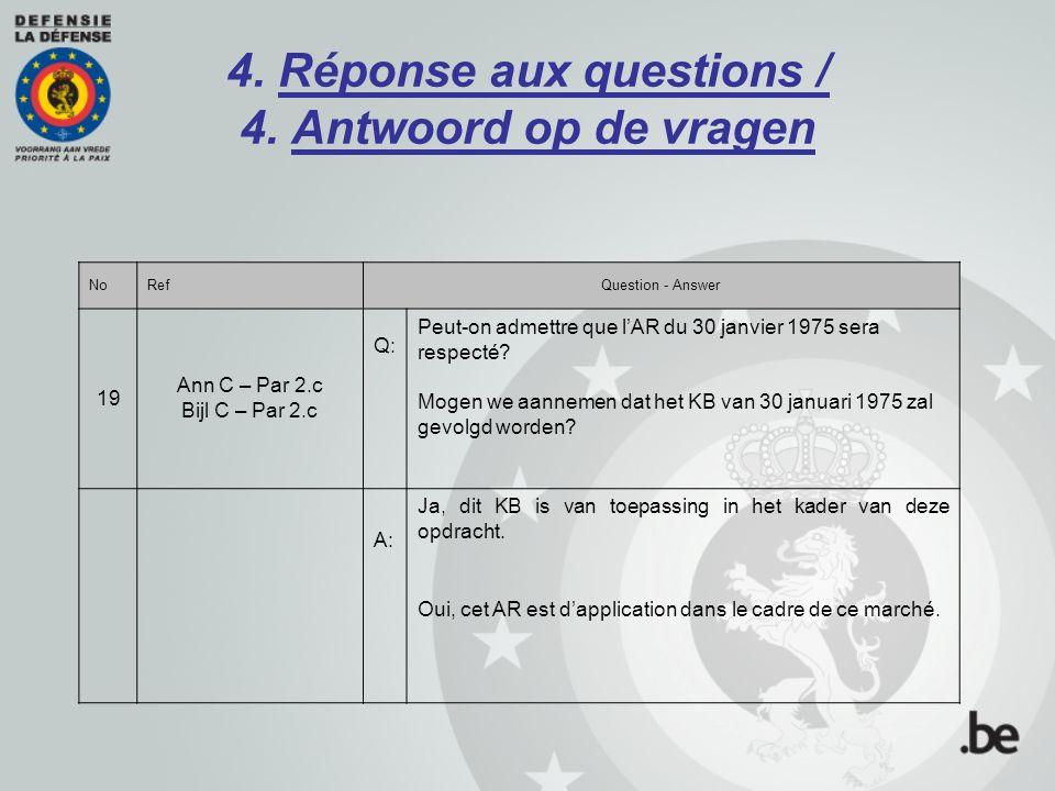 4. Réponse aux questions / 4. Antwoord op de vragen NoRefQuestion - Answer 19 Ann C – Par 2.c Bijl C – Par 2.c Q: Peut-on admettre que l'AR du 30 janv