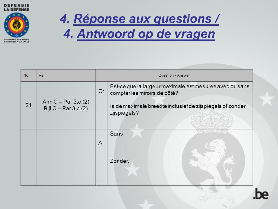 4. Réponse aux questions / 4. Antwoord op de vragen NoRefQuestion - Answer 21 Ann C – Par 3.c.(2) Bijl C – Par 3.c.(2) Q: Est-ce que la largeur maxima