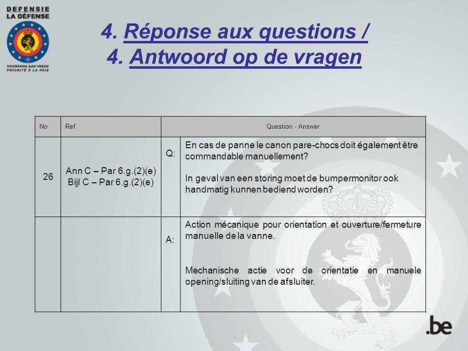 4. Réponse aux questions / 4. Antwoord op de vragen NoRefQuestion - Answer 26 Ann C – Par 6.g.(2)(e) Bijl C – Par 6.g.(2)(e) Q: En cas de panne le can