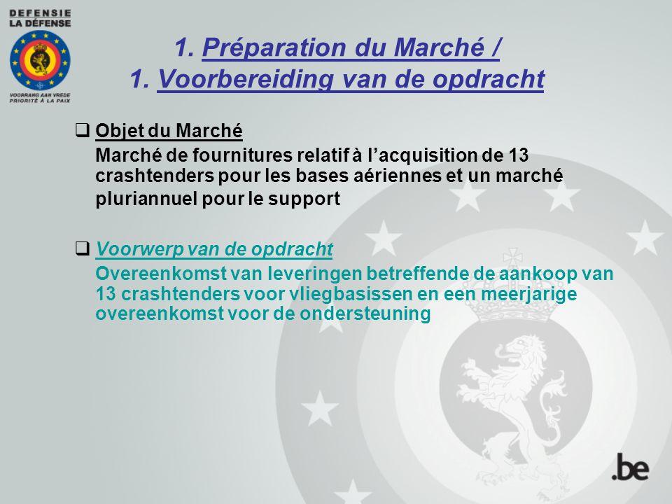1. Préparation du Marché / 1. Voorbereiding van de opdracht  Objet du Marché Marché de fournitures relatif à l'acquisition de 13 crashtenders pour le