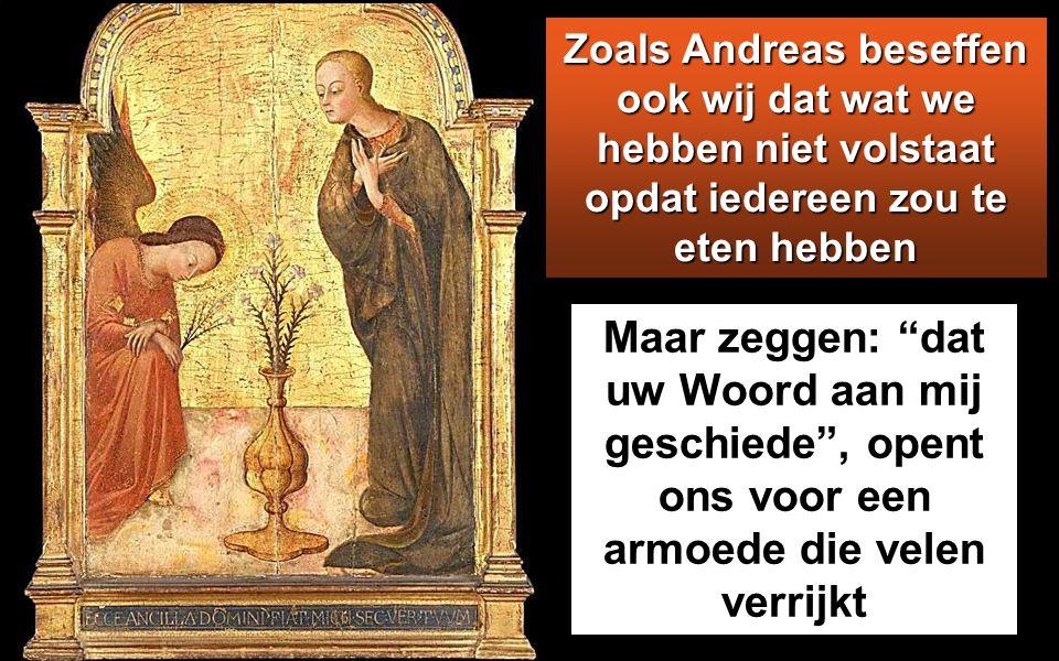 Een van zijn leerlingen, Andreas, de broer van Simon Petrus, merkte op: Er is hier wel een jongen met vijf gerstebroden en twee vissen, maar wat betekent dat voor zo n aantal