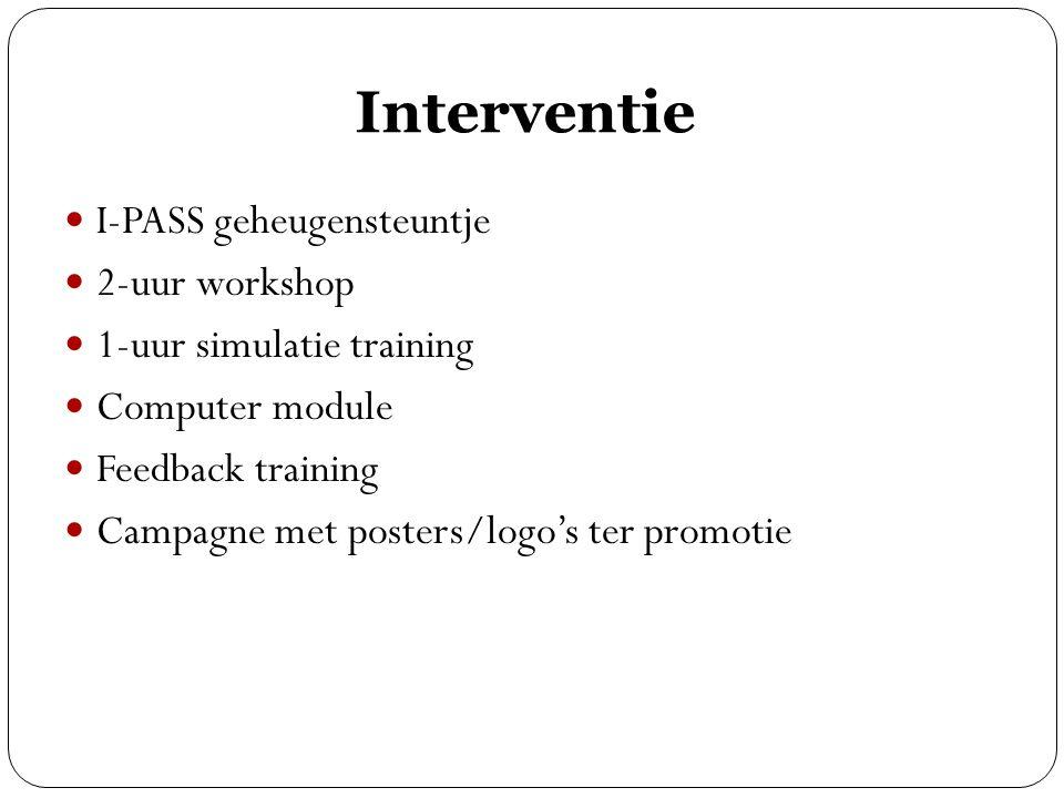 Interventie I-PASS geheugensteuntje 2-uur workshop 1-uur simulatie training Computer module Feedback training Campagne met posters/logo's ter promotie