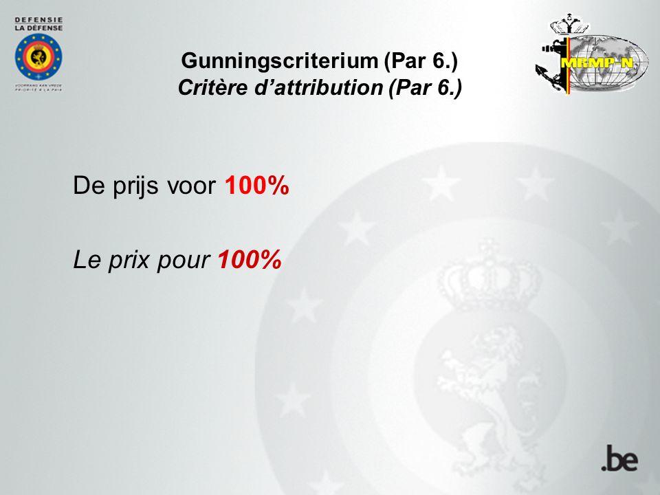 Gunningscriterium (Par 6.) Critère d'attribution (Par 6.) De prijs voor 100% Le prix pour 100%
