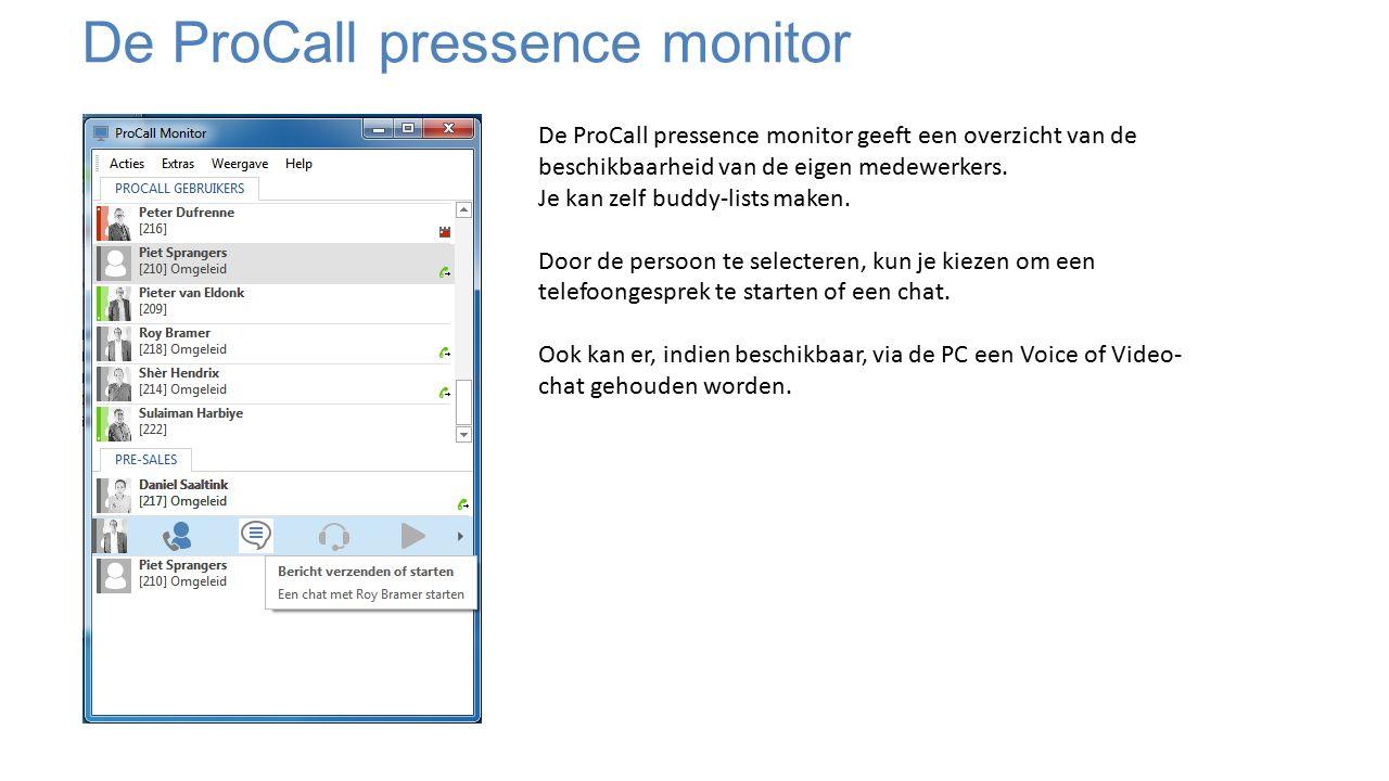 De ProCall pressence monitor De ProCall pressence monitor geeft een overzicht van de beschikbaarheid van de eigen medewerkers.