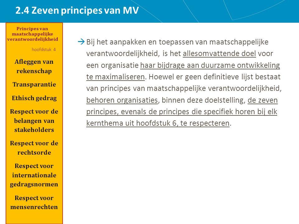 2.4 Zeven principes van MV  Bij het aanpakken en toepassen van maatschappelijke verantwoordelijkheid, is het allesomvattende doel voor een organisatie haar bijdrage aan duurzame ontwikkeling te maximaliseren.
