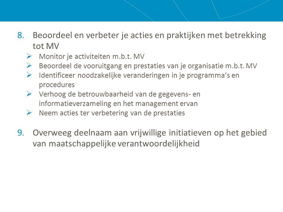 8.Beoordeel en verbeter je acties en praktijken met betrekking tot MV  Monitor je activiteiten m.b.t.