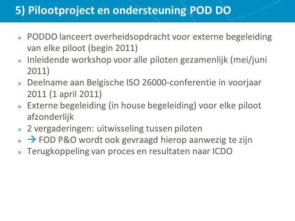 5) Pilootproject en ondersteuning POD DO PODDO lanceert overheidsopdracht voor externe begeleiding van elke piloot (begin 2011) Inleidende workshop voor alle piloten gezamenlijk (mei/juni 2011) Deelname aan Belgische ISO 26000-conferentie in voorjaar 2011 (1 april 2011) Externe begeleiding (in house begeleiding) voor elke piloot afzonderlijk 2 vergaderingen: uitwisseling tussen piloten  FOD P&O wordt ook gevraagd hierop aanwezig te zijn Terugkoppeling van proces en resultaten naar ICDO