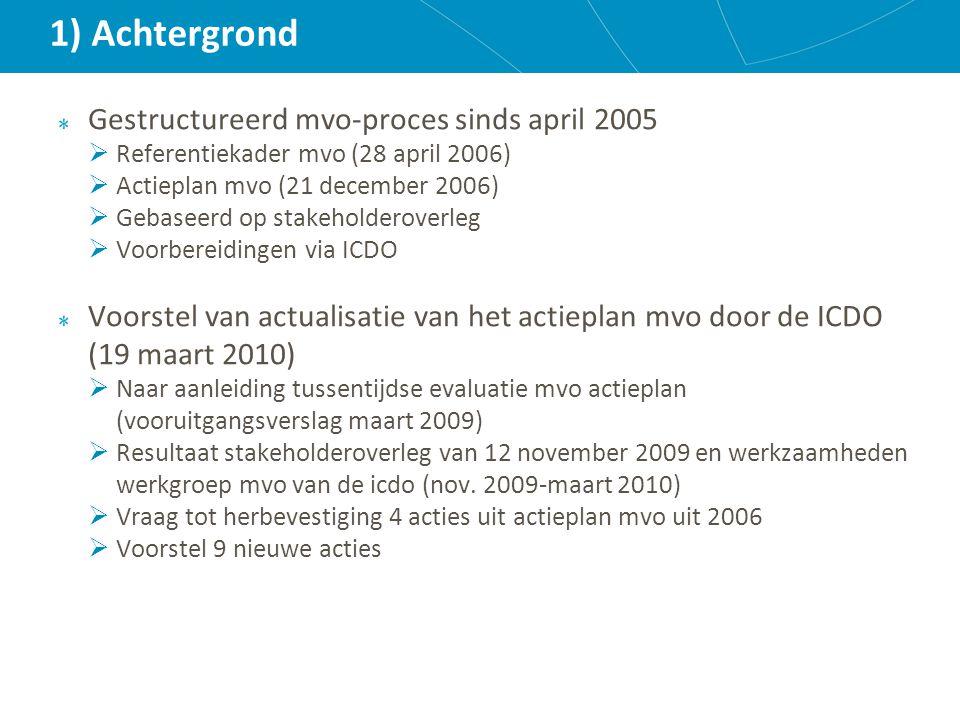 1) Achtergrond Gestructureerd mvo-proces sinds april 2005  Referentiekader mvo (28 april 2006)  Actieplan mvo (21 december 2006)  Gebaseerd op stakeholderoverleg  Voorbereidingen via ICDO Voorstel van actualisatie van het actieplan mvo door de ICDO (19 maart 2010)  Naar aanleiding tussentijdse evaluatie mvo actieplan (vooruitgangsverslag maart 2009)  Resultaat stakeholderoverleg van 12 november 2009 en werkzaamheden werkgroep mvo van de icdo (nov.